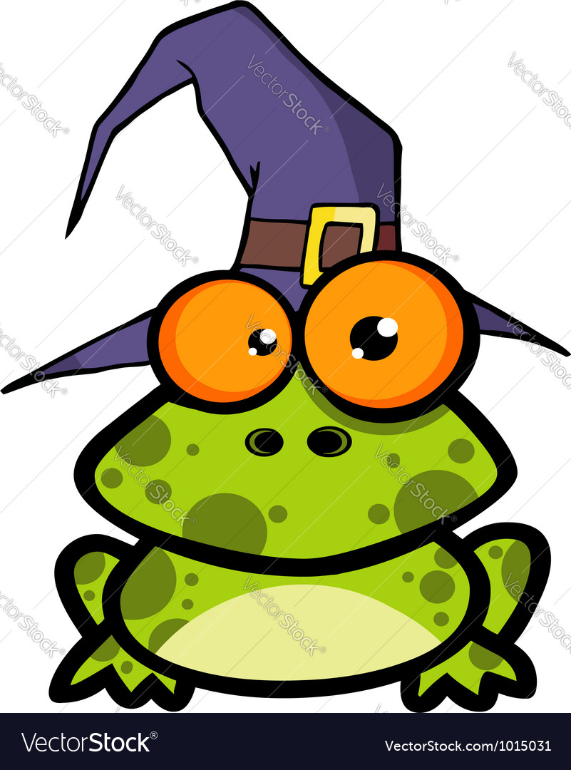 Frog with a witch hat vector   Price: 1 Credit (USD $1)