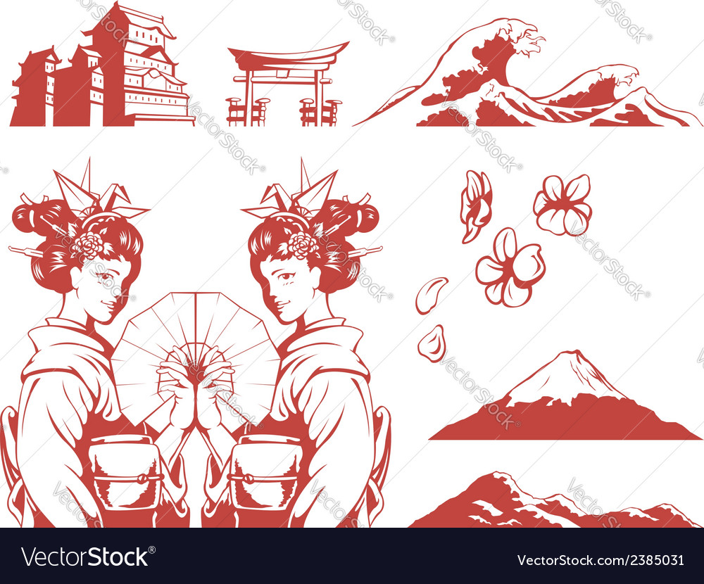 Japanese set girl in kimono sakura mountain castle vector | Price: 1 Credit (USD $1)