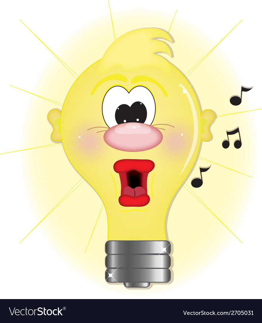 Light bulb singing vector | Price: 1 Credit (USD $1)
