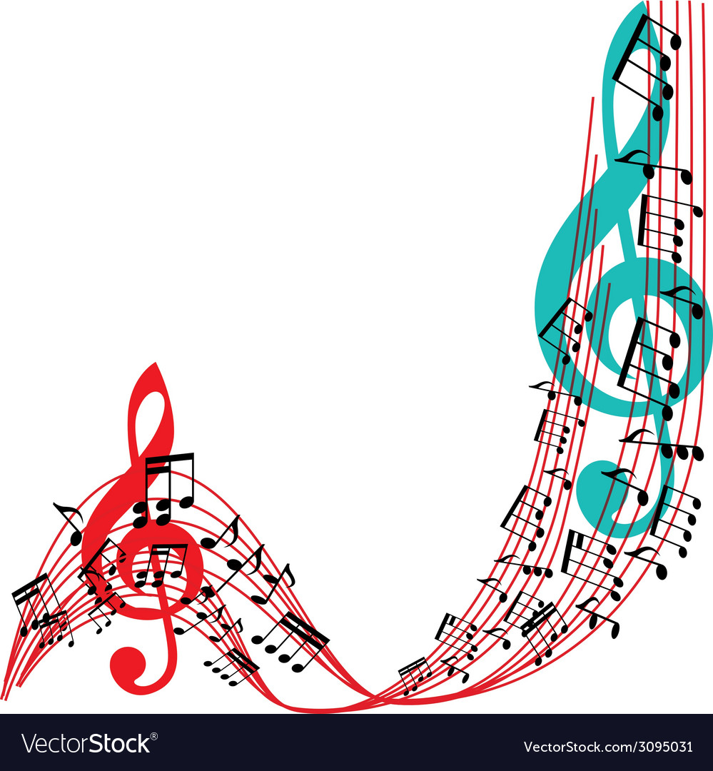 Music notes background stylish musical theme frame vector | Price: 1 Credit (USD $1)