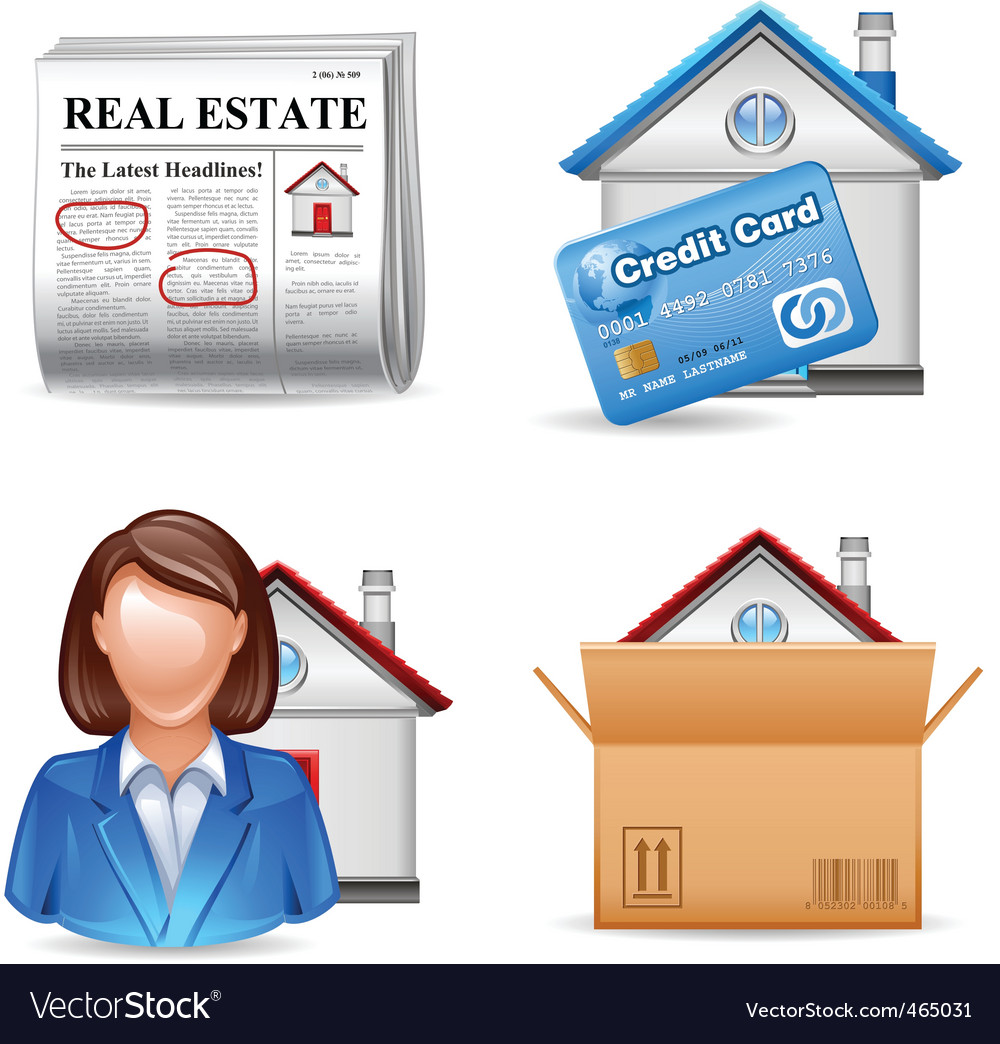 Real estate icons set 2 vector | Price: 3 Credit (USD $3)