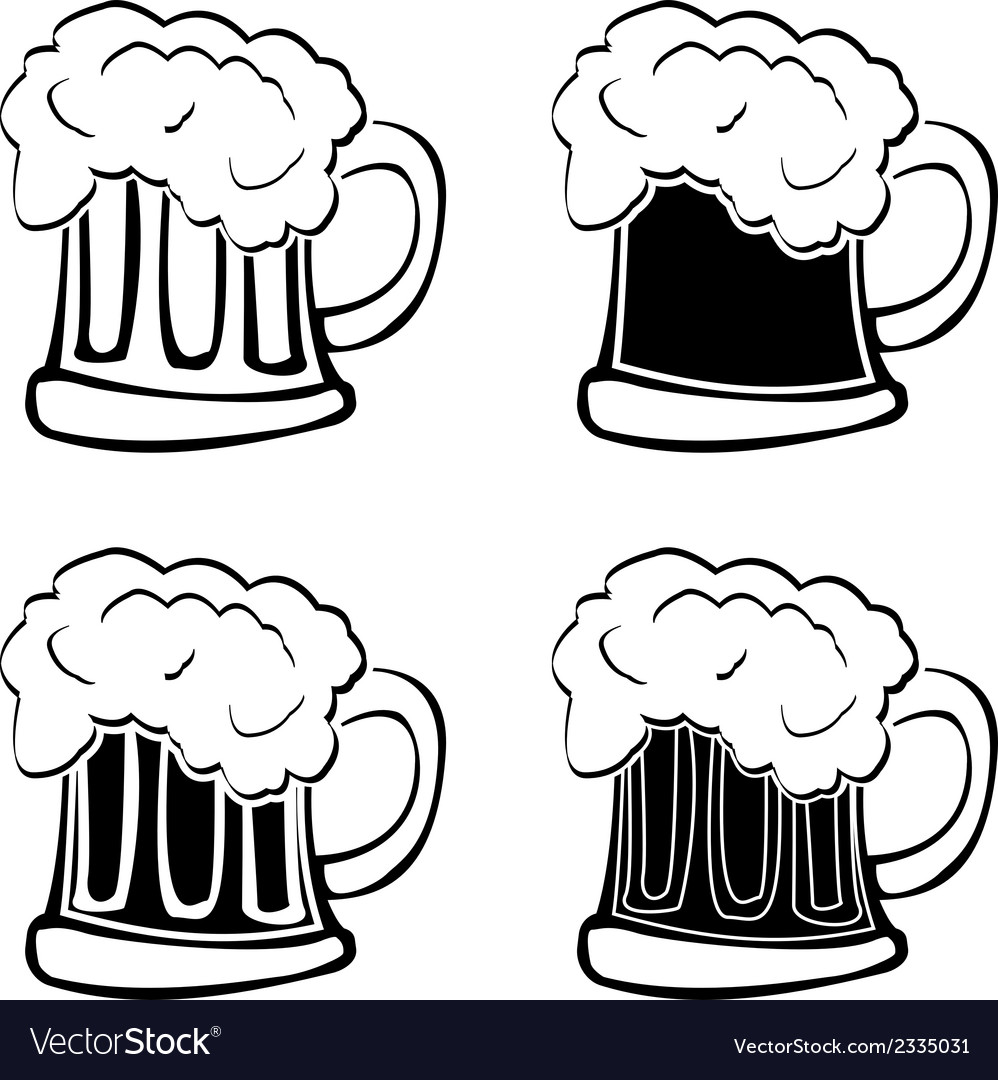 Set of glasses of beer vector | Price: 1 Credit (USD $1)