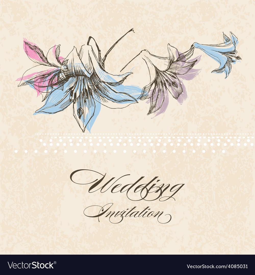 Wedding invitation lily flower decoration vector   Price: 1 Credit (USD $1)