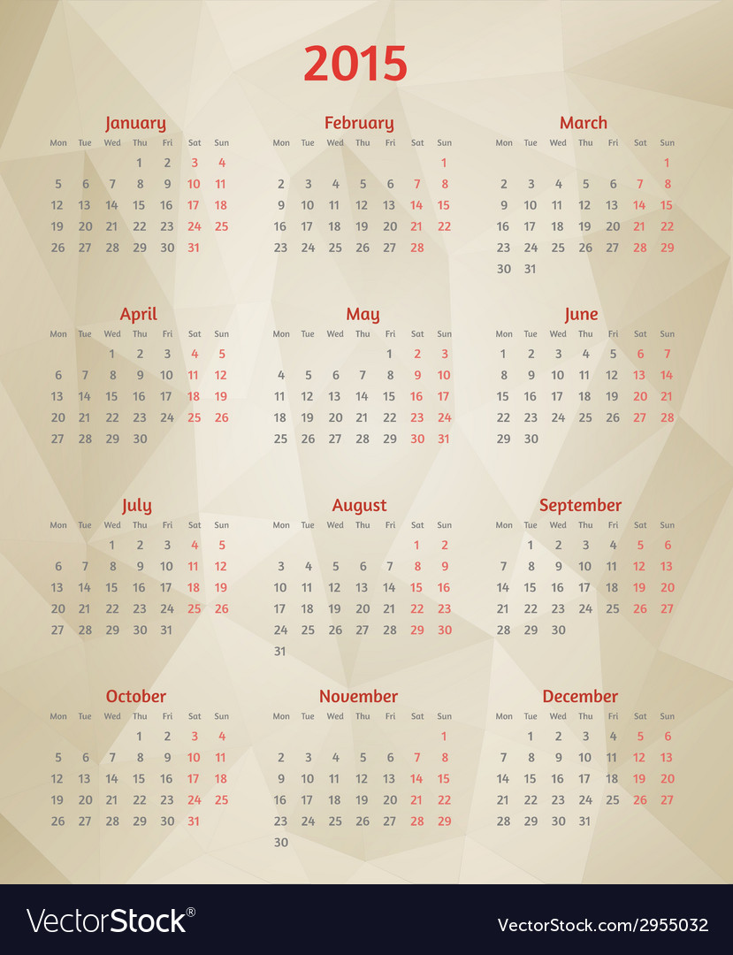 Abstract polygonal calendar vector | Price: 1 Credit (USD $1)