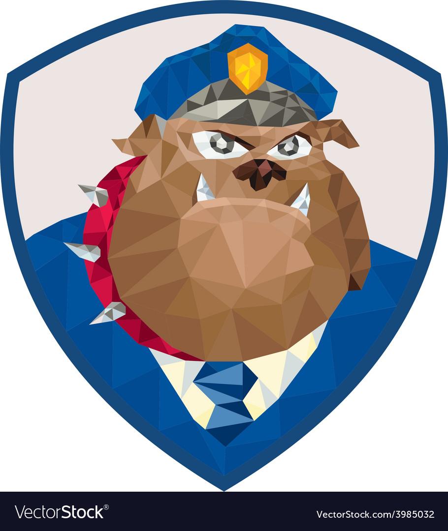 Bulldog policeman shield low polygon vector   Price: 1 Credit (USD $1)