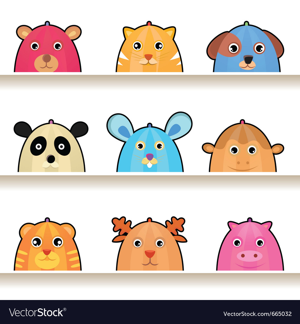 Cartoon animal characters vector | Price: 3 Credit (USD $3)
