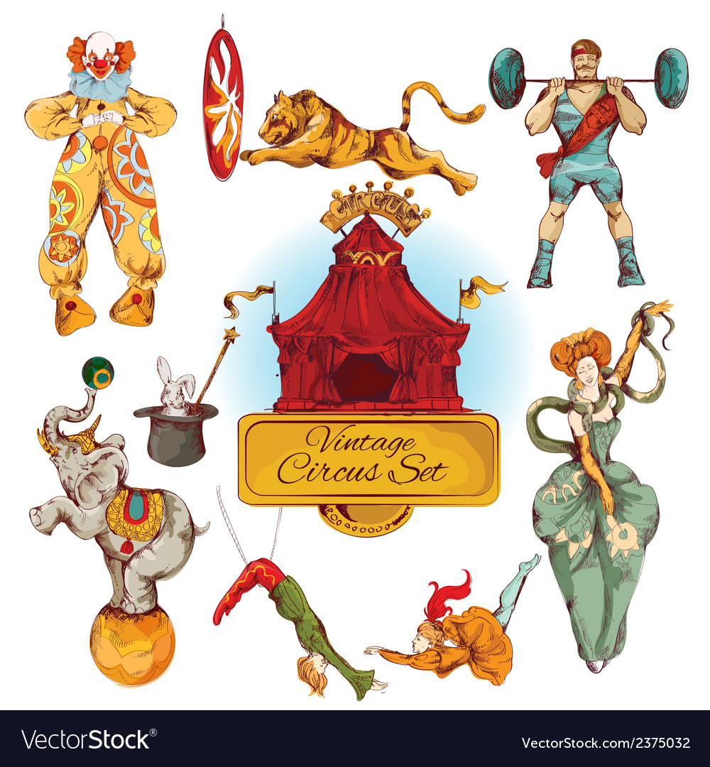 Circus vintage colored icons set vector | Price: 1 Credit (USD $1)