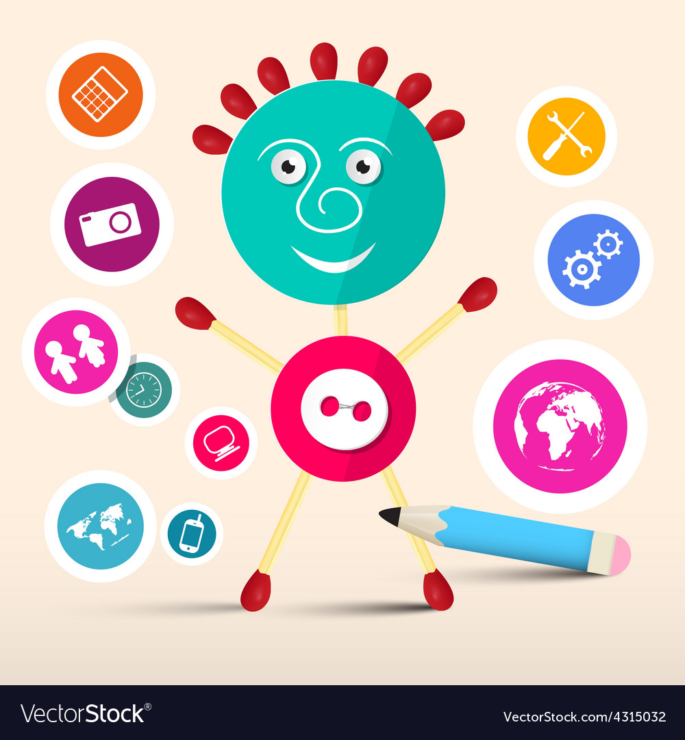 Creative symbol man - avatar with circle vector | Price: 1 Credit (USD $1)