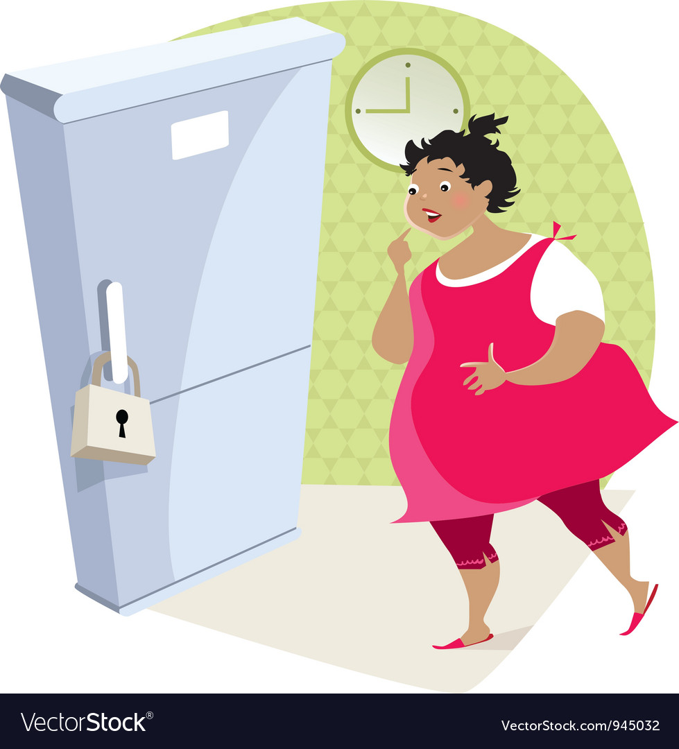 Dieting lady and fridge vector | Price: 3 Credit (USD $3)