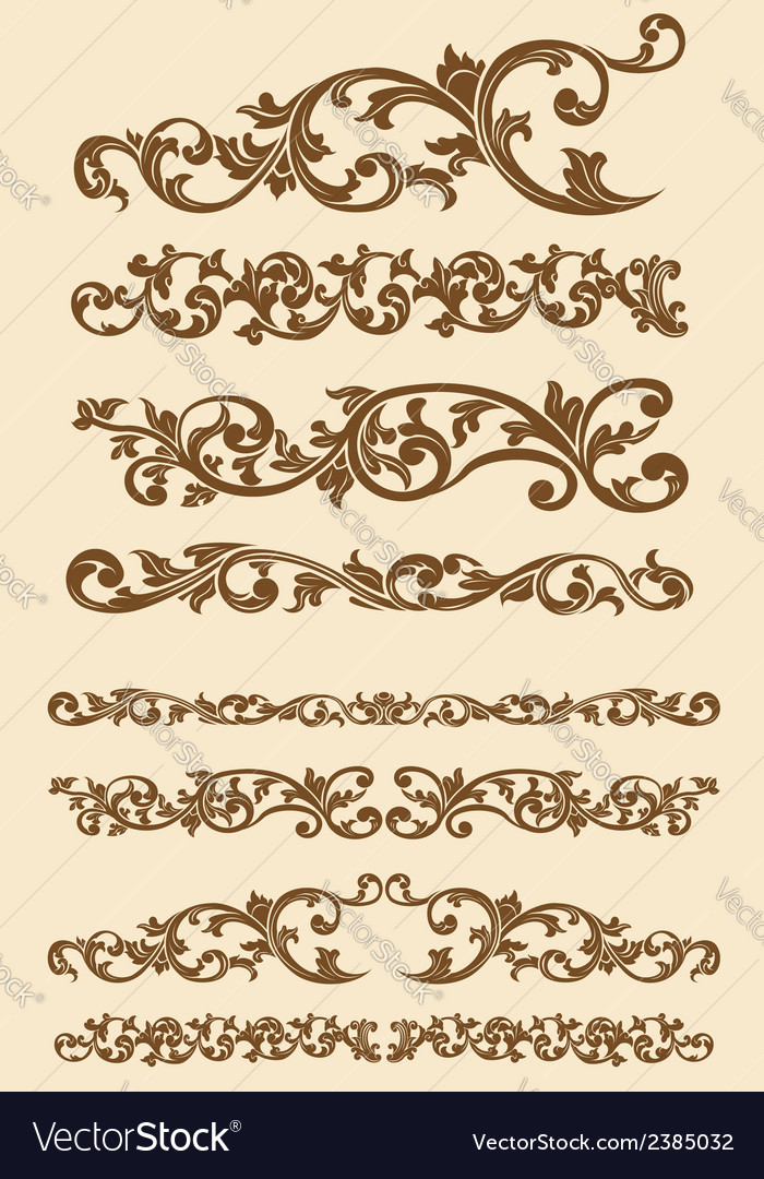 Javanese vintage floral ornament set vector | Price: 1 Credit (USD $1)