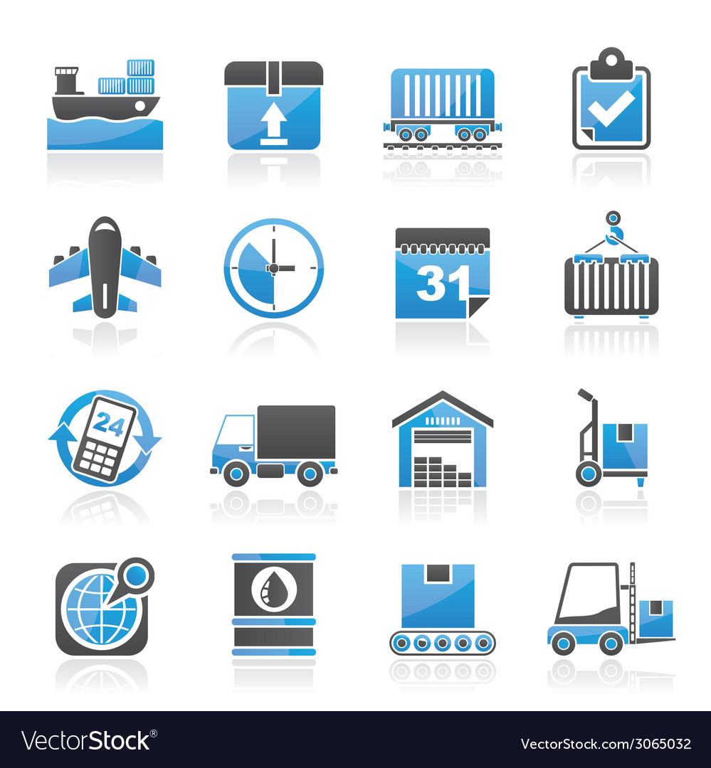 Logistic and shipping icons vector