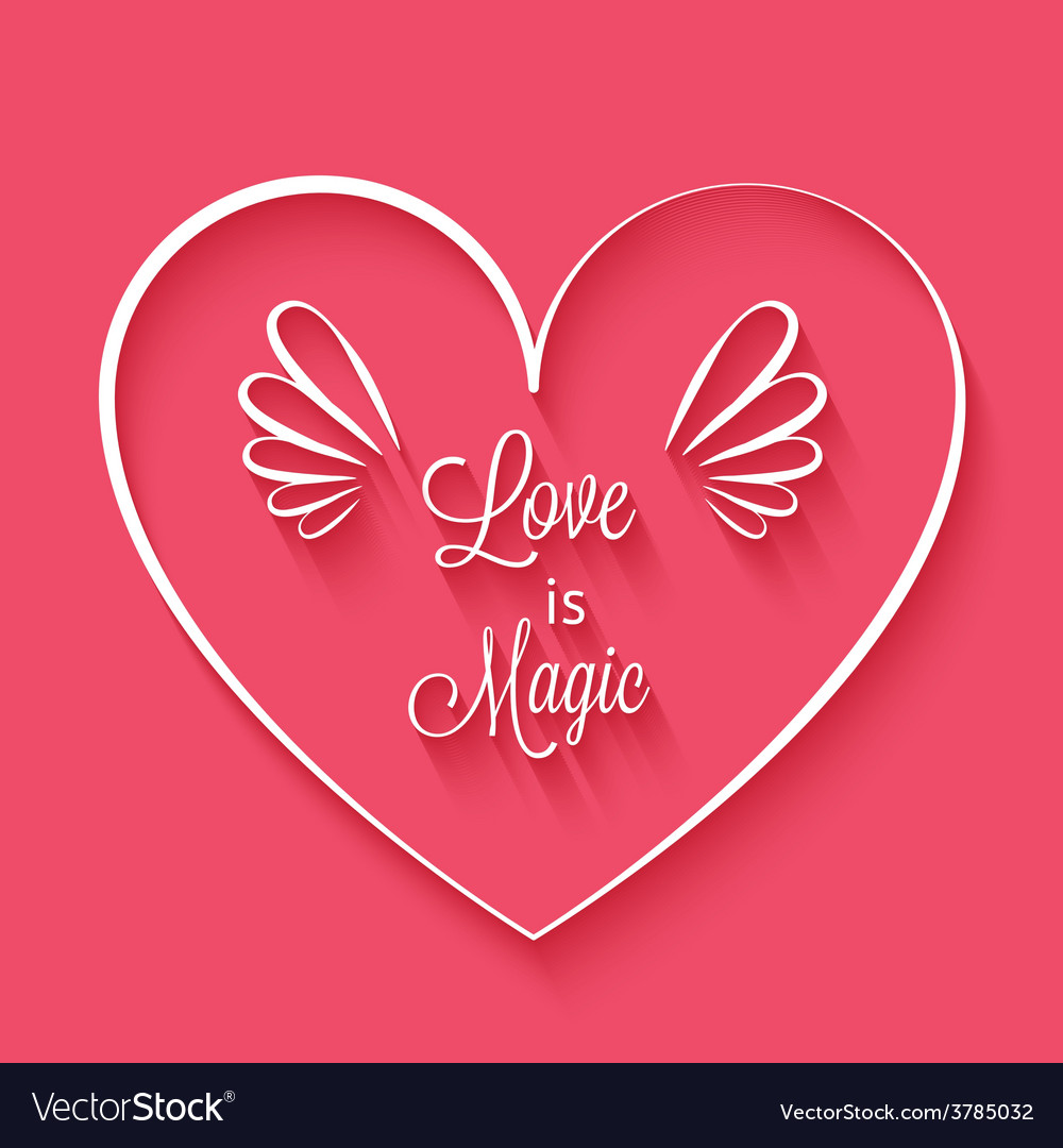 Love is magic phrase in heart frame vector | Price: 1 Credit (USD $1)