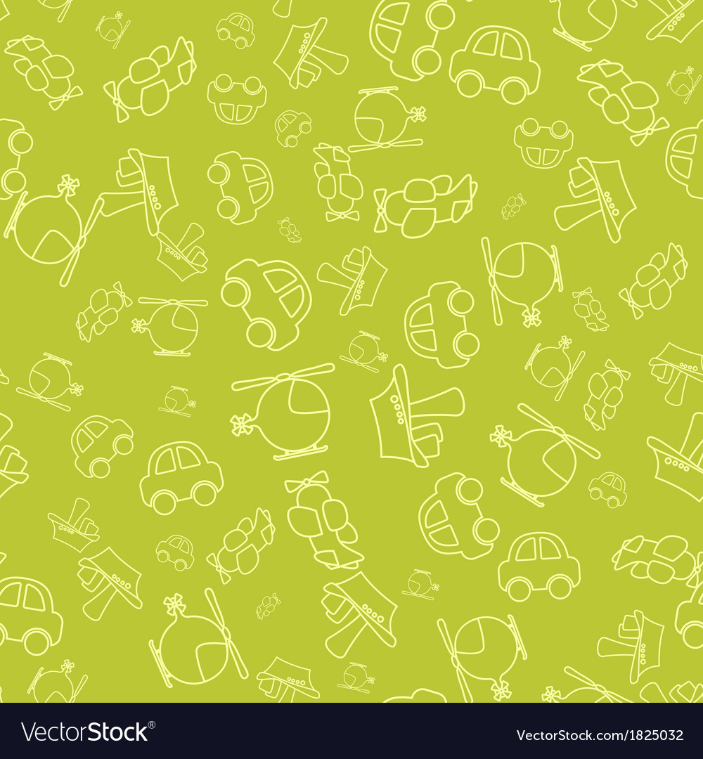 Seamless pattern with cartoon baby transport vector | Price: 1 Credit (USD $1)