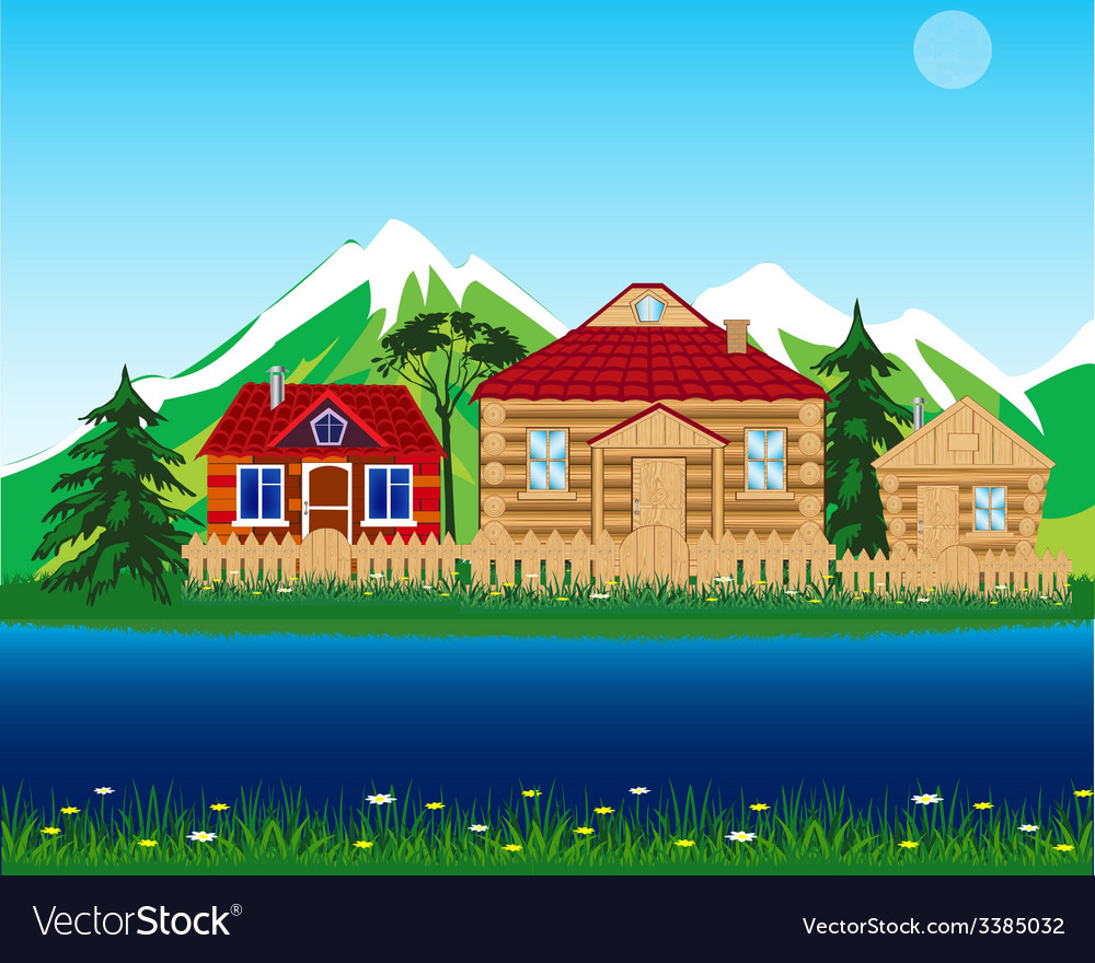Village beside yard vector | Price: 1 Credit (USD $1)