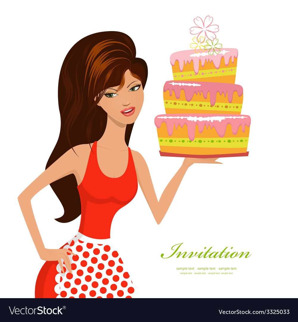 Beautiful woman with birthday cake for your design vector | Price: 1 Credit (USD $1)