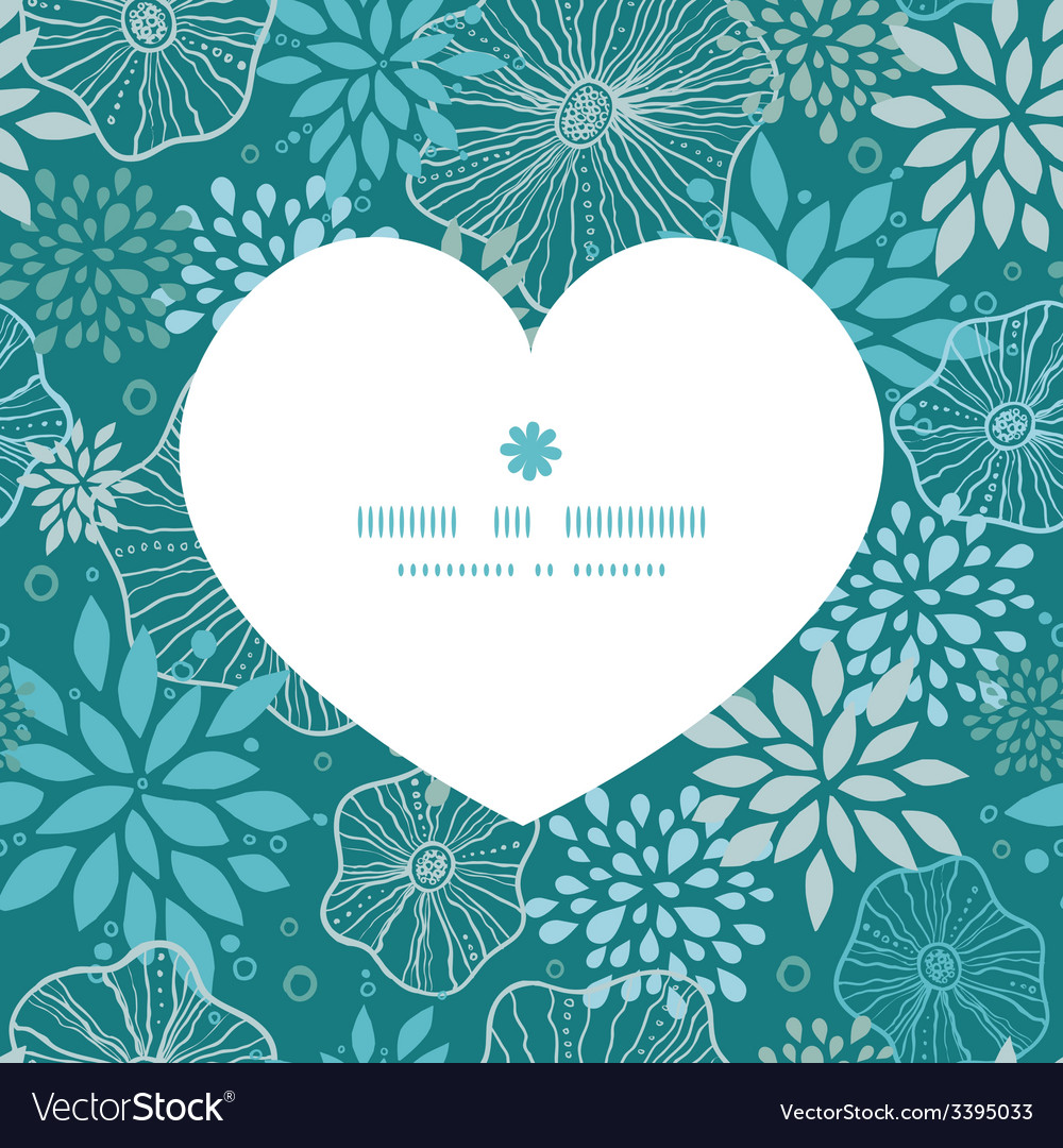 Blue and gray plants heart silhouette pattern vector | Price: 1 Credit (USD $1)