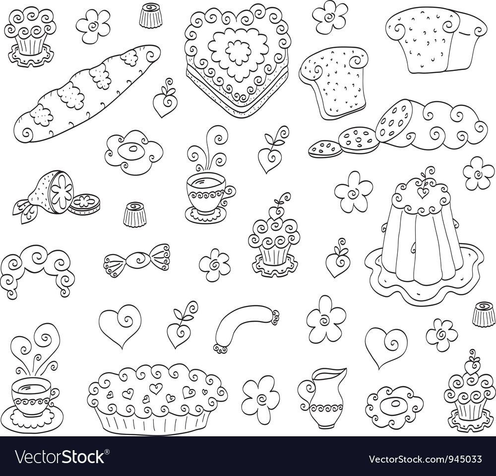 Doodle food set vector | Price: 1 Credit (USD $1)