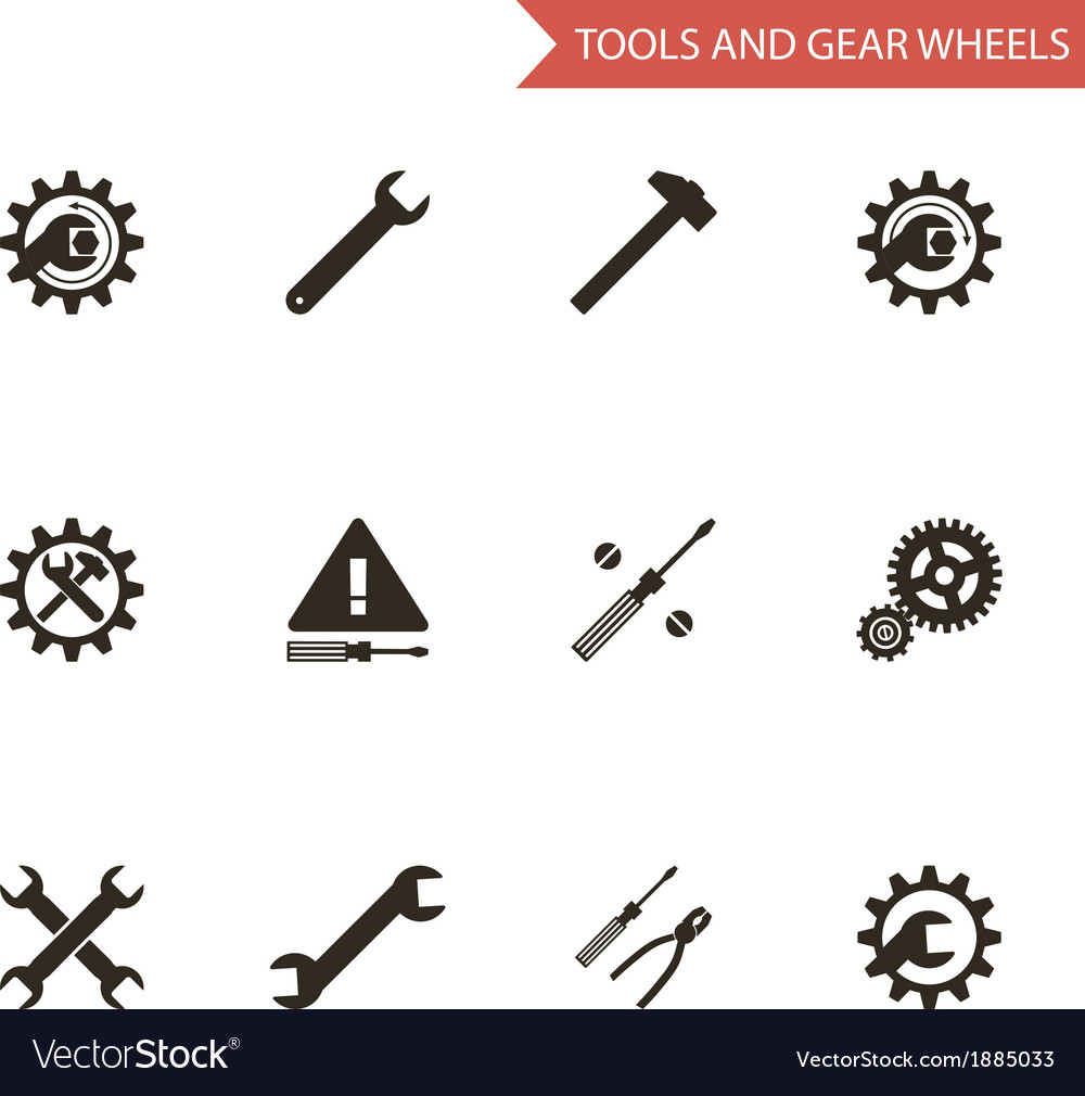 Flat design style black tools gear wheels icons vector | Price: 1 Credit (USD $1)