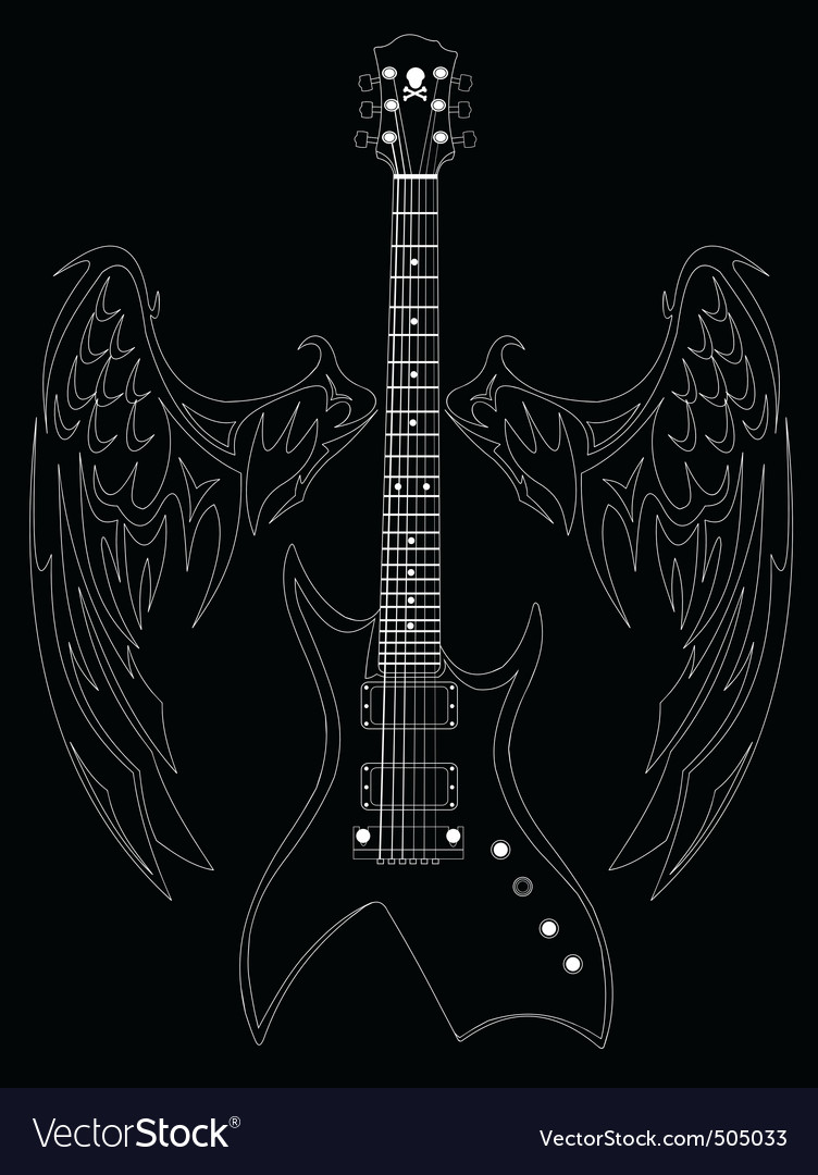 Guitar and wings vector | Price: 1 Credit (USD $1)