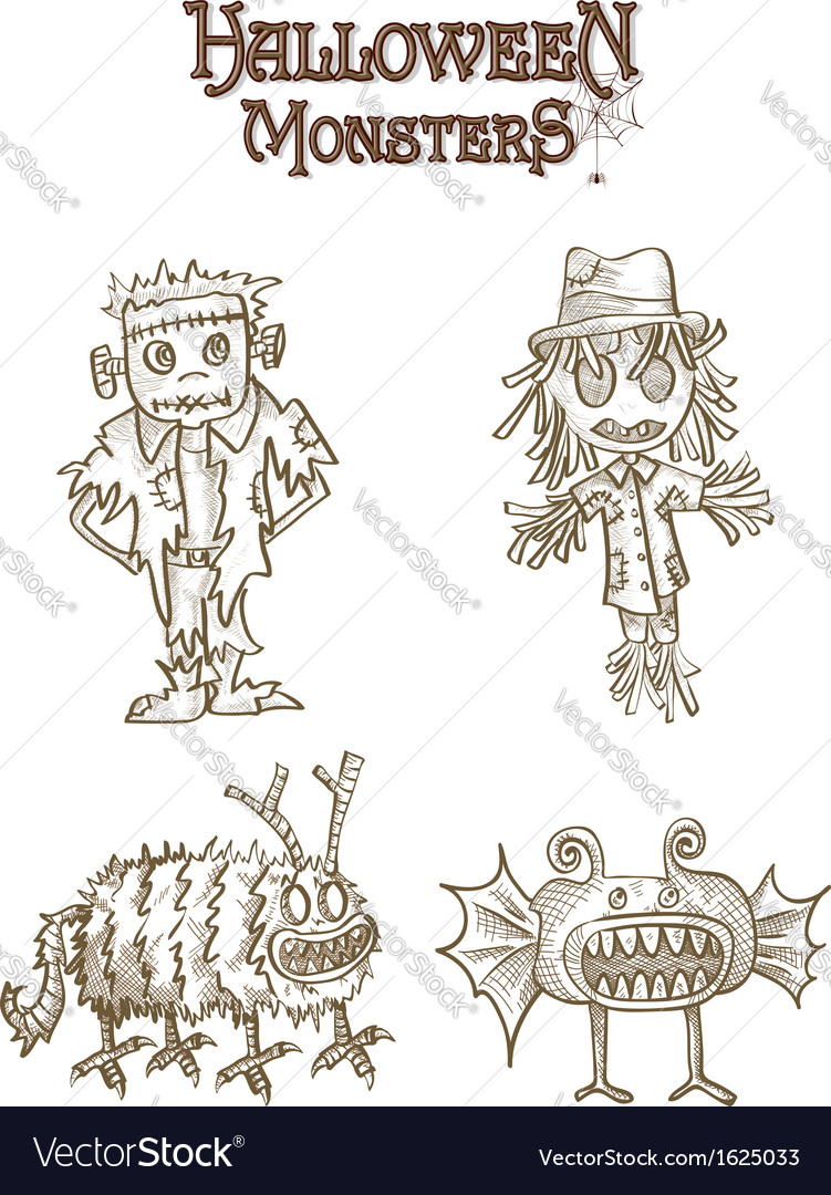 Halloween monsters spooky characters set eps10 vector | Price: 1 Credit (USD $1)