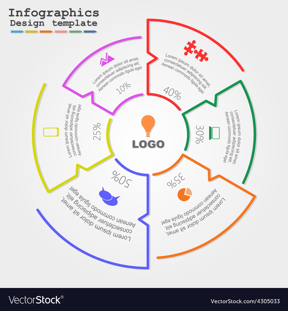 Infographic report template with lines and icons vector   Price: 1 Credit (USD $1)