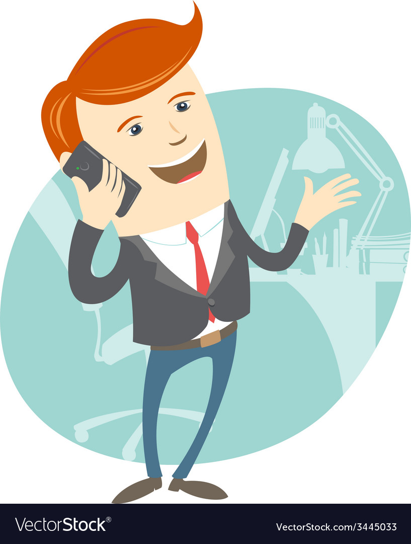 Office man phone talking in front of his working vector | Price: 1 Credit (USD $1)