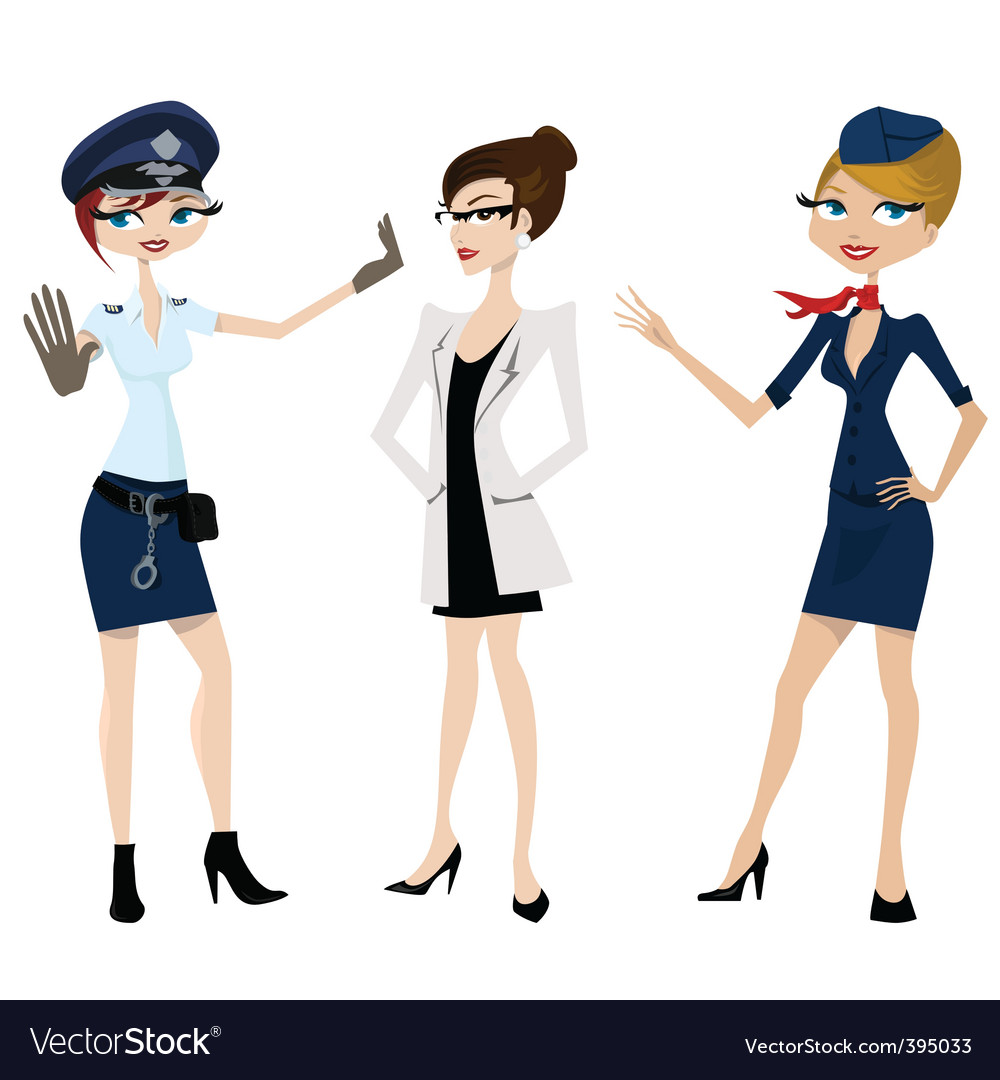 Police doctor hostess vector | Price: 1 Credit (USD $1)