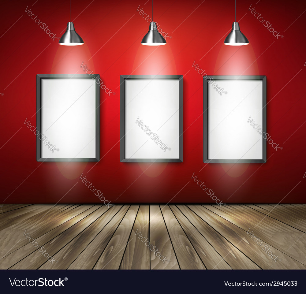 Red room with spotlights and wooden floor vector | Price: 1 Credit (USD $1)