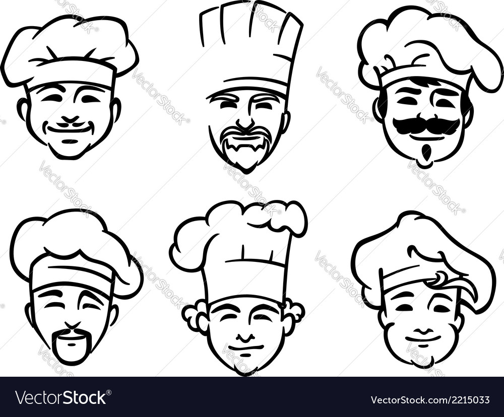 Set of six chef or cooks heads vector | Price: 1 Credit (USD $1)
