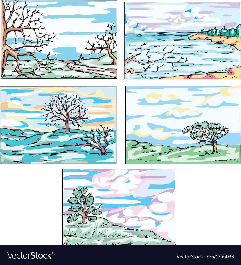 Sketches of landscapes with trees vector | Price: 1 Credit (USD $1)