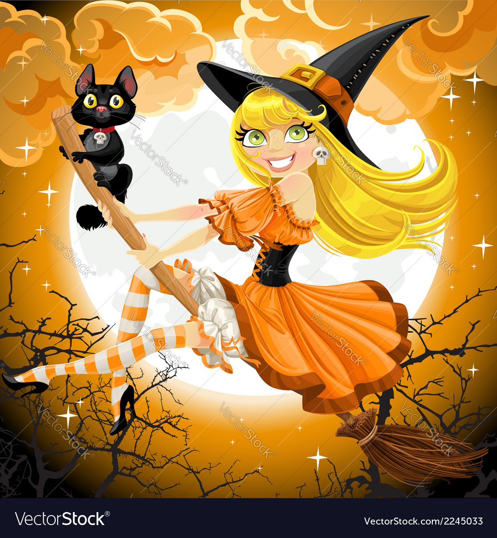 Witch and her cat familiar flying on broomstic vector | Price: 3 Credit (USD $3)