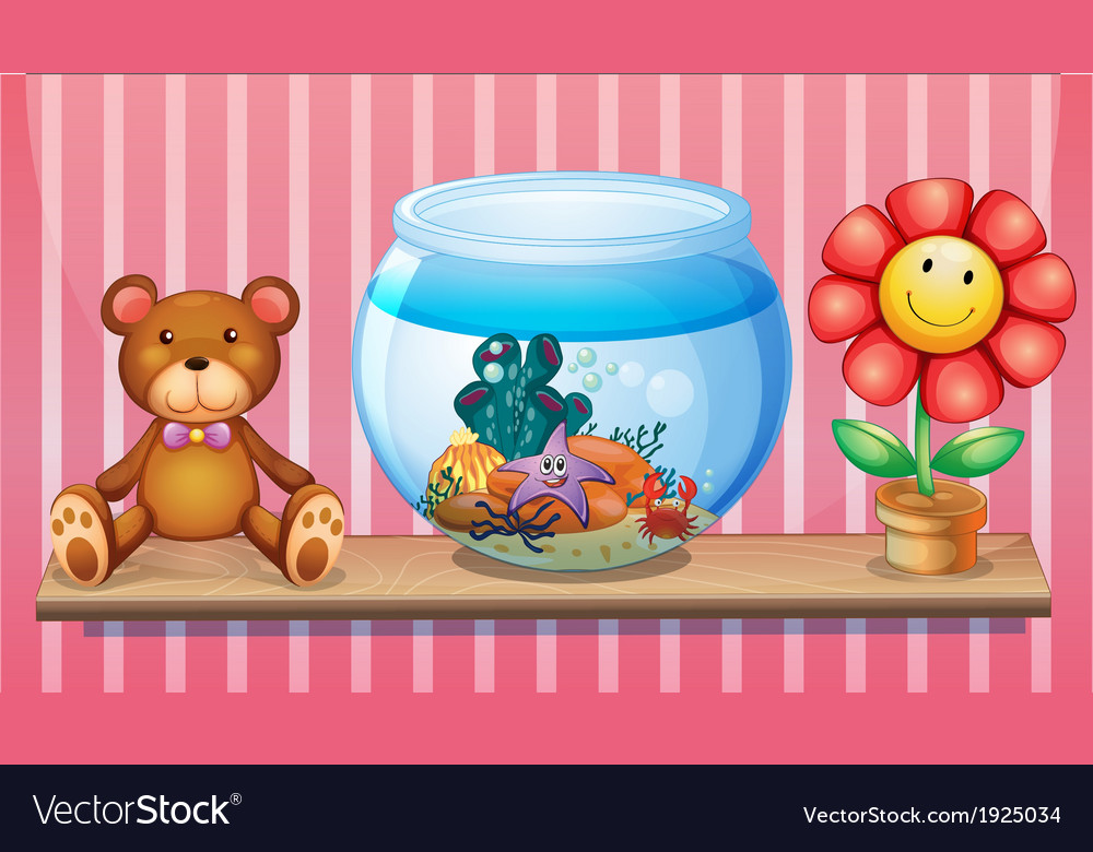 A shelf with a bear an aquarium and a toy flower vector | Price: 3 Credit (USD $3)