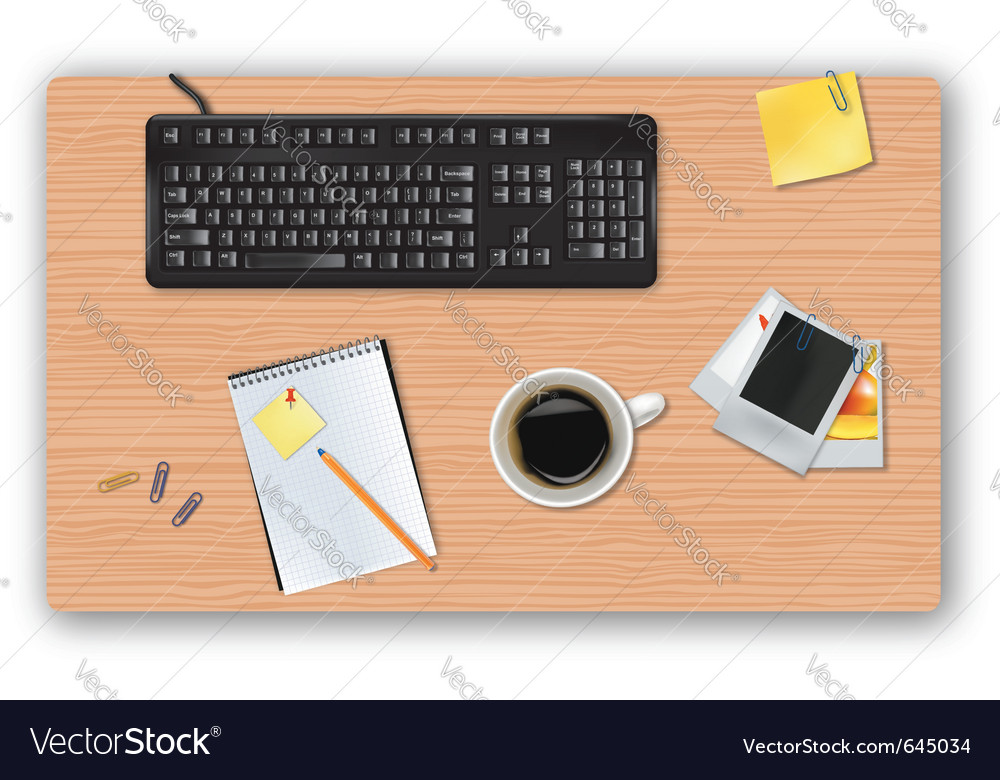Black keyboard and office supplies vector | Price: 1 Credit (USD $1)