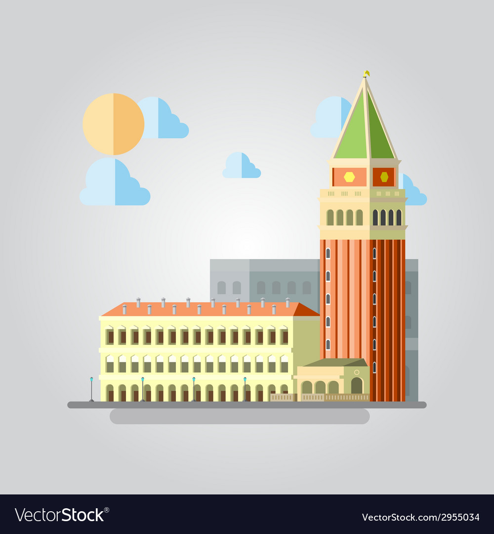 Flat design of italian building cityscape vector | Price: 1 Credit (USD $1)