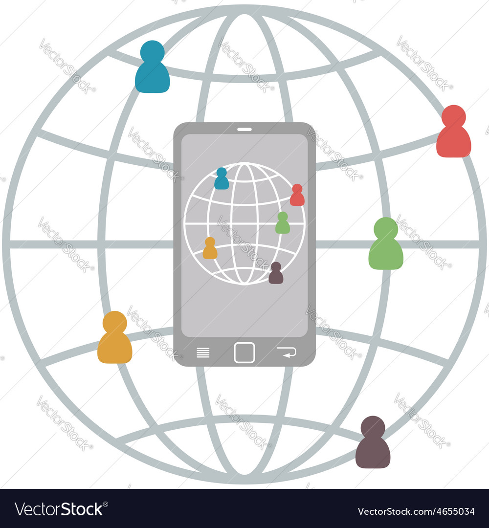 Flat mobile infographic of connect people vector | Price: 1 Credit (USD $1)