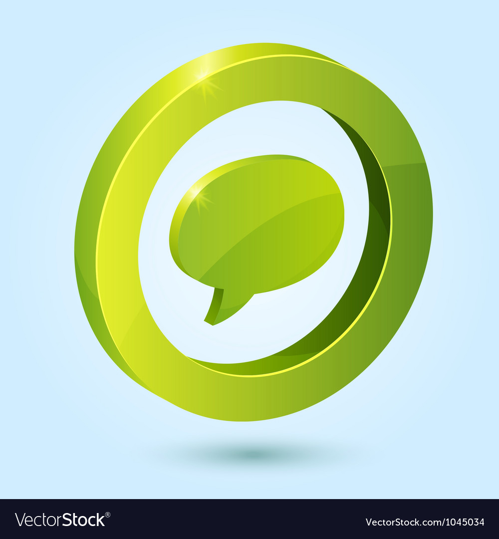 Green bubble speech symbol isolated on blue vector | Price: 1 Credit (USD $1)