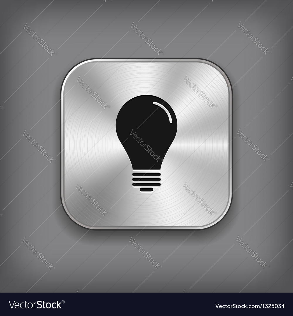 Light bulb icon - metal app button vector | Price: 1 Credit (USD $1)