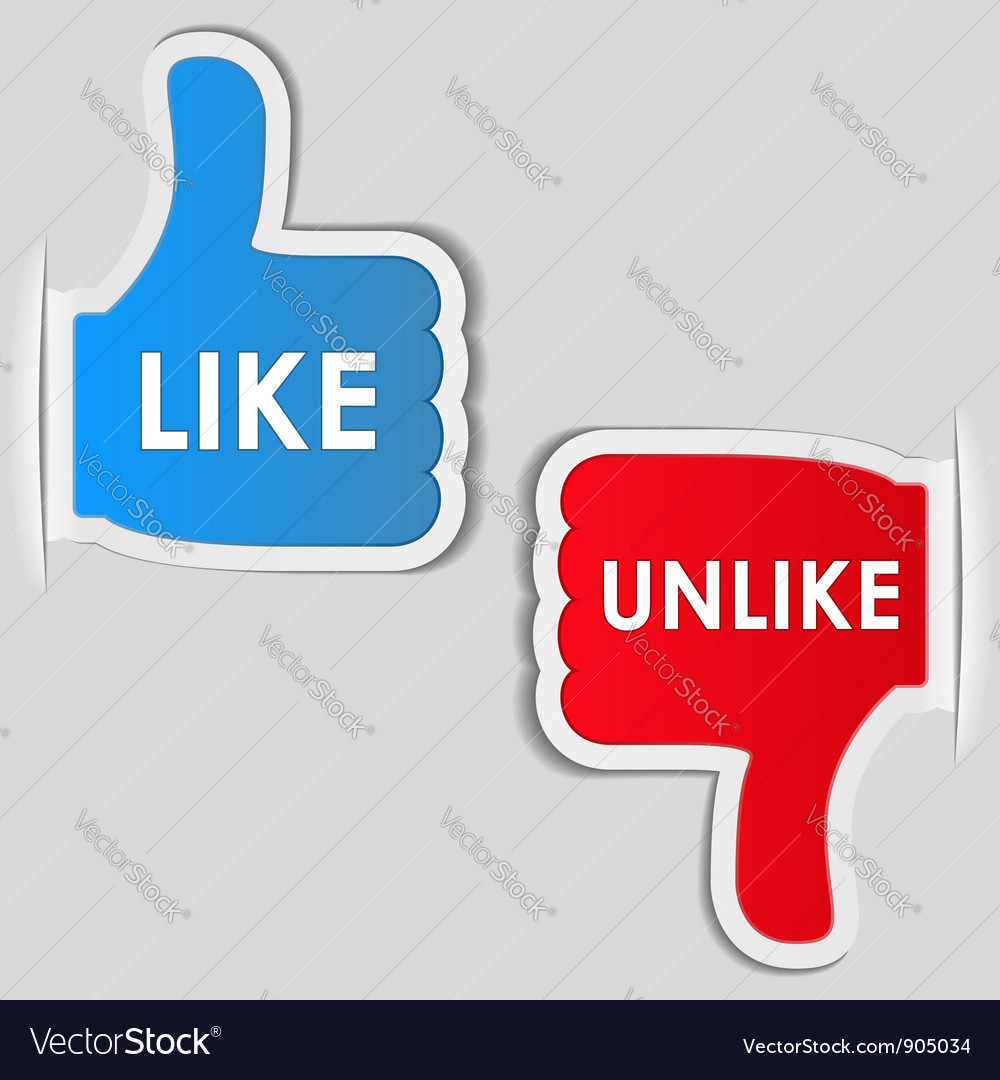 Like and unlike labels vector | Price: 1 Credit (USD $1)