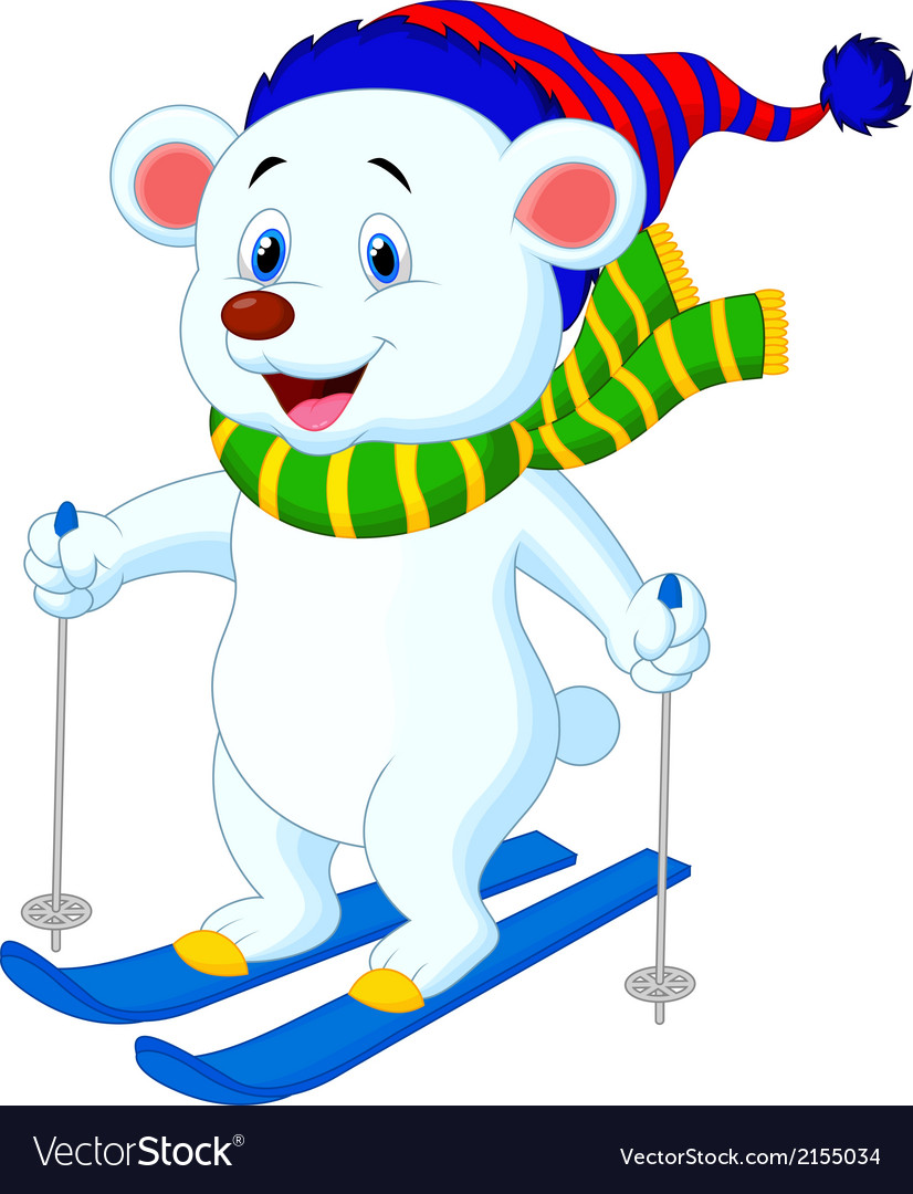 Polar bear cartoon skiing vector | Price: 1 Credit (USD $1)