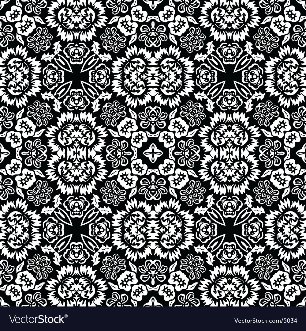 Retro floral tile vector | Price: 1 Credit (USD $1)