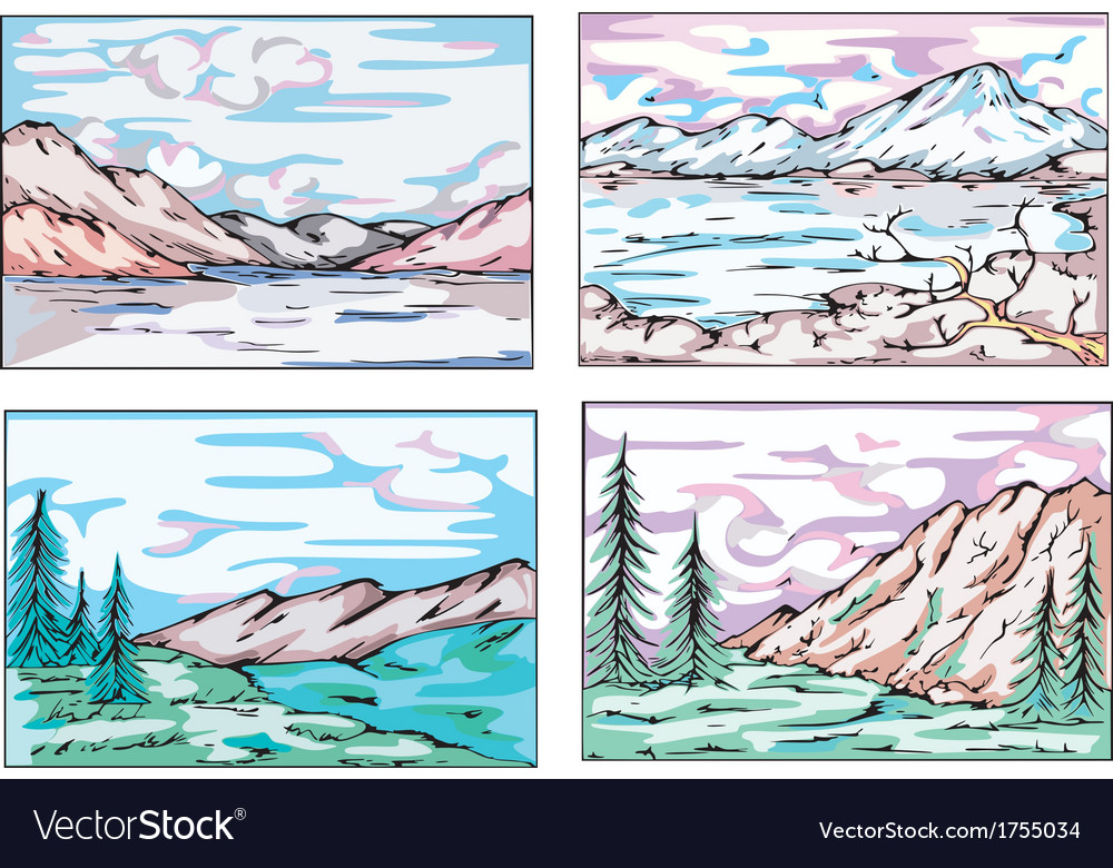 Sketches of mountain landscapes vector | Price: 1 Credit (USD $1)