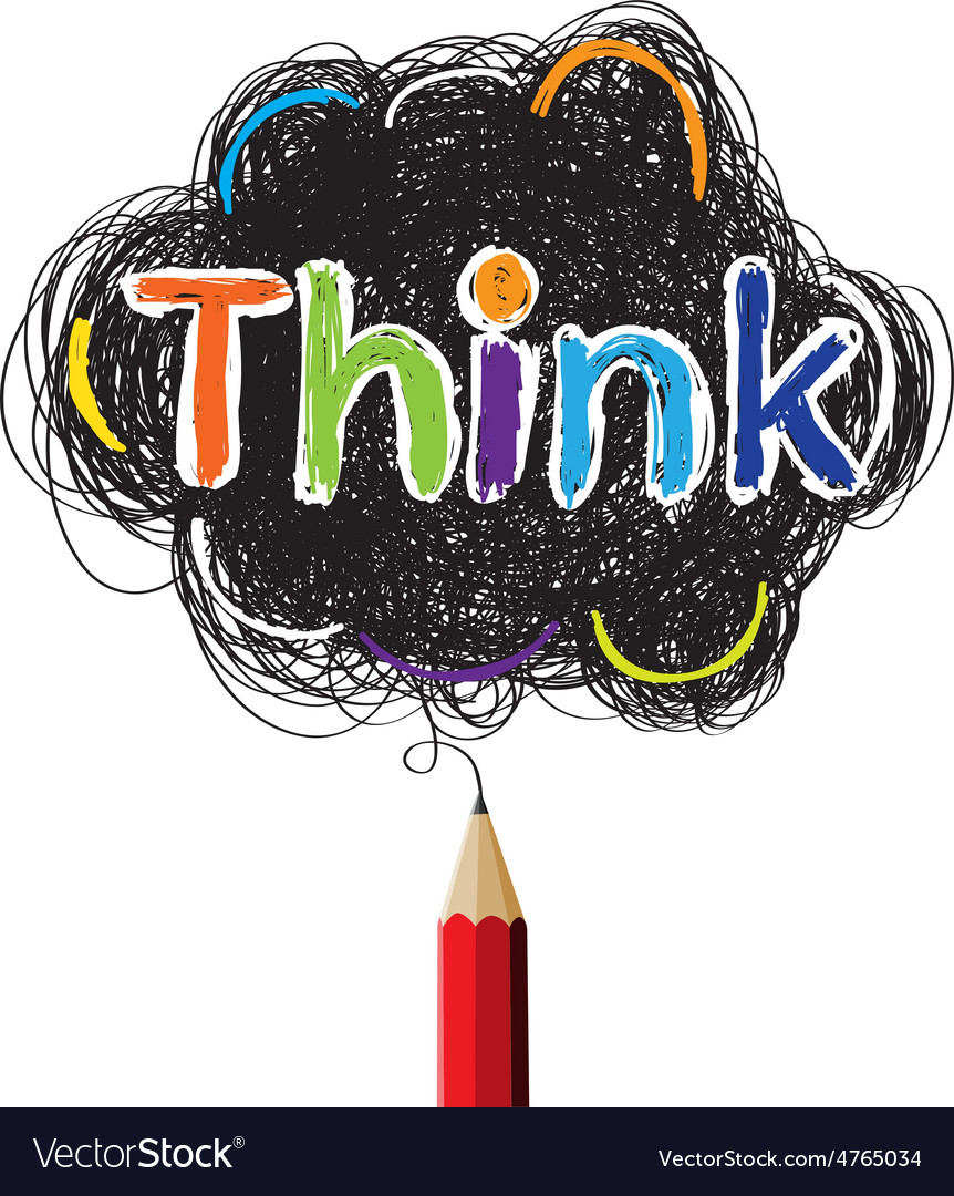 Think colorful concept drawing by red pencil vector | Price: 1 Credit (USD $1)