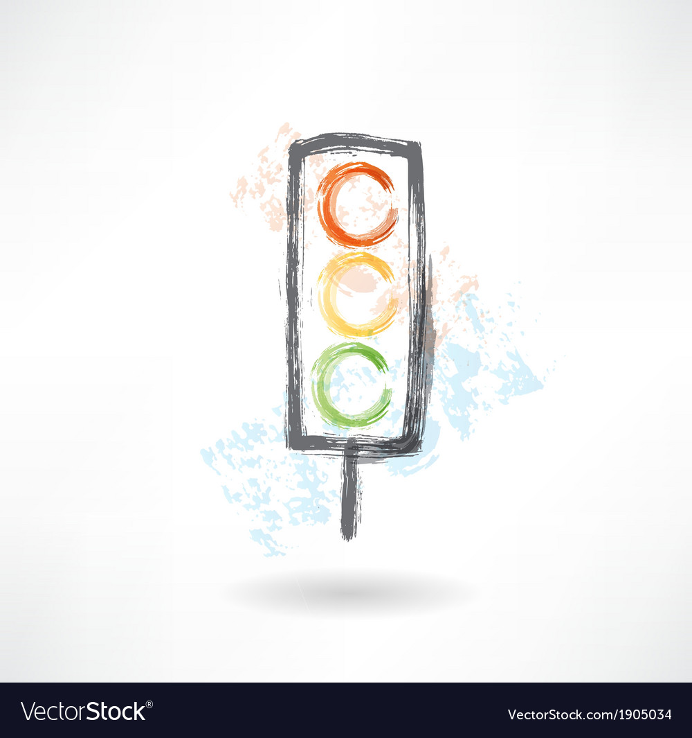 Traffic light grunge icon vector | Price: 1 Credit (USD $1)