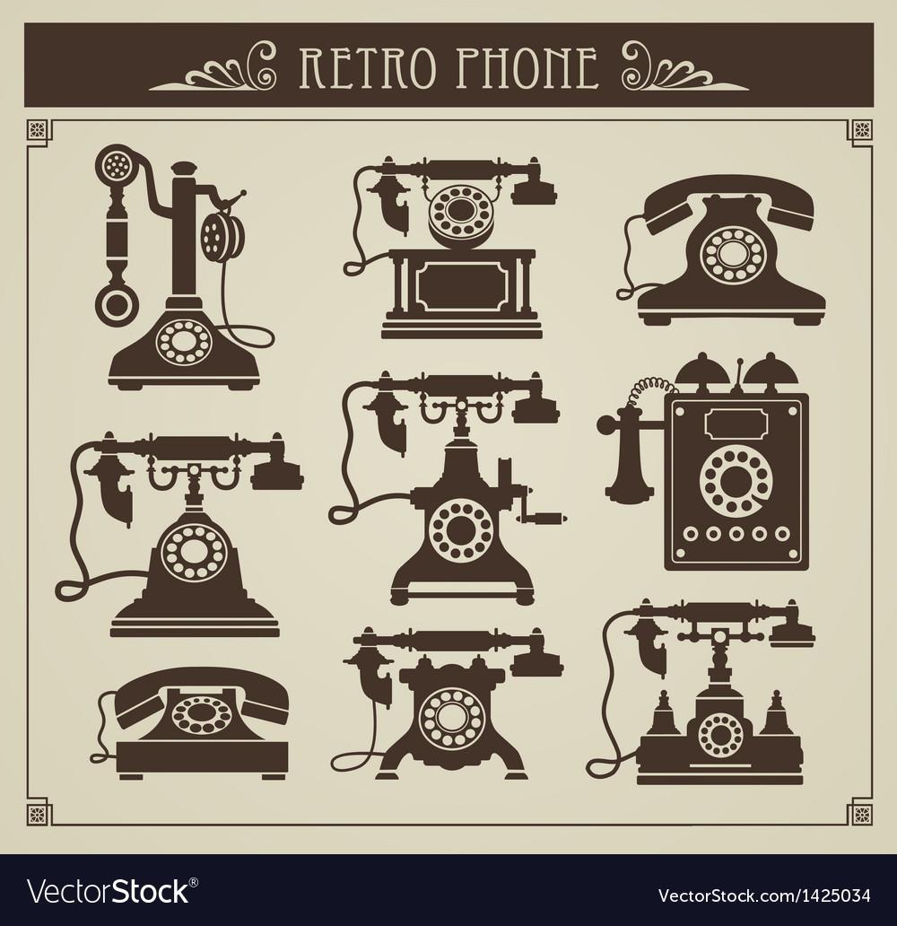 Vintage phones vector   Price: 1 Credit (USD $1)