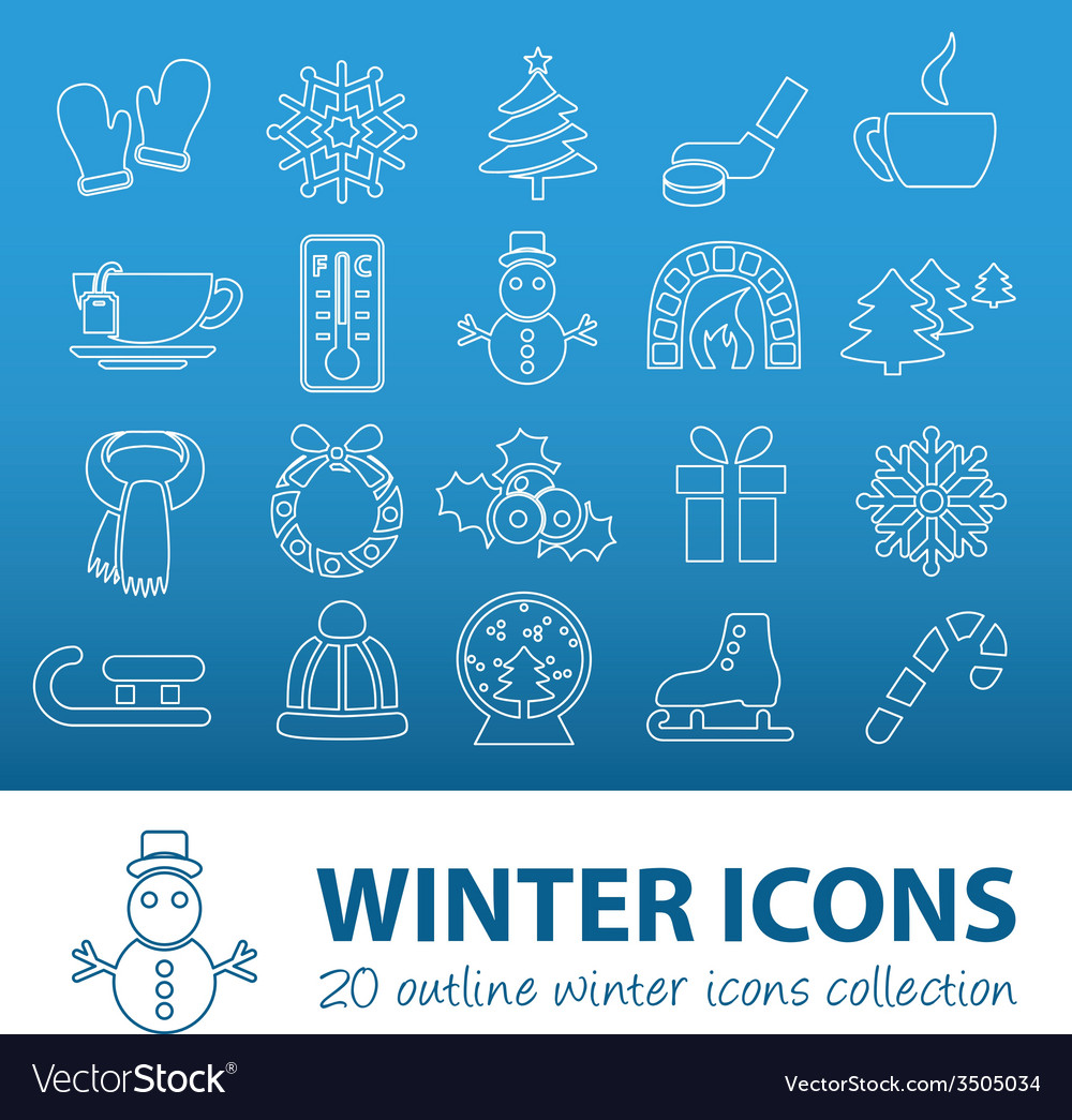 Winter outline icons vector | Price: 1 Credit (USD $1)
