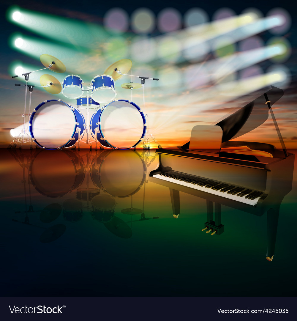 Abstract jazz background with grand piano and drum vector | Price: 3 Credit (USD $3)