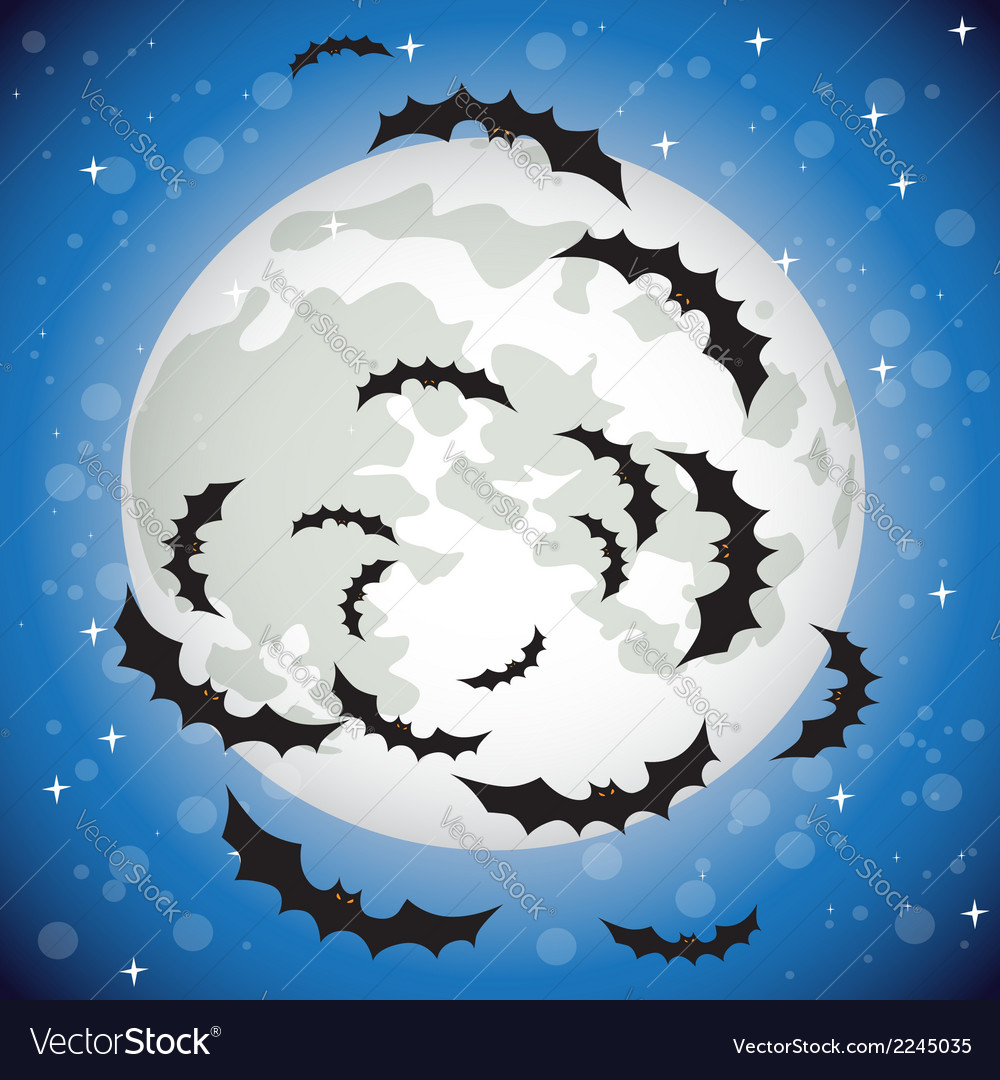 Bats flying in the night sky vector | Price: 1 Credit (USD $1)