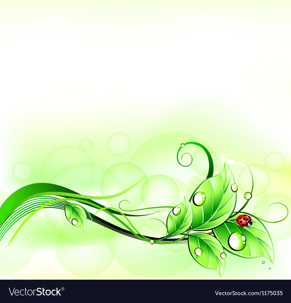 Blur green background with ladybirth vector | Price: 1 Credit (USD $1)