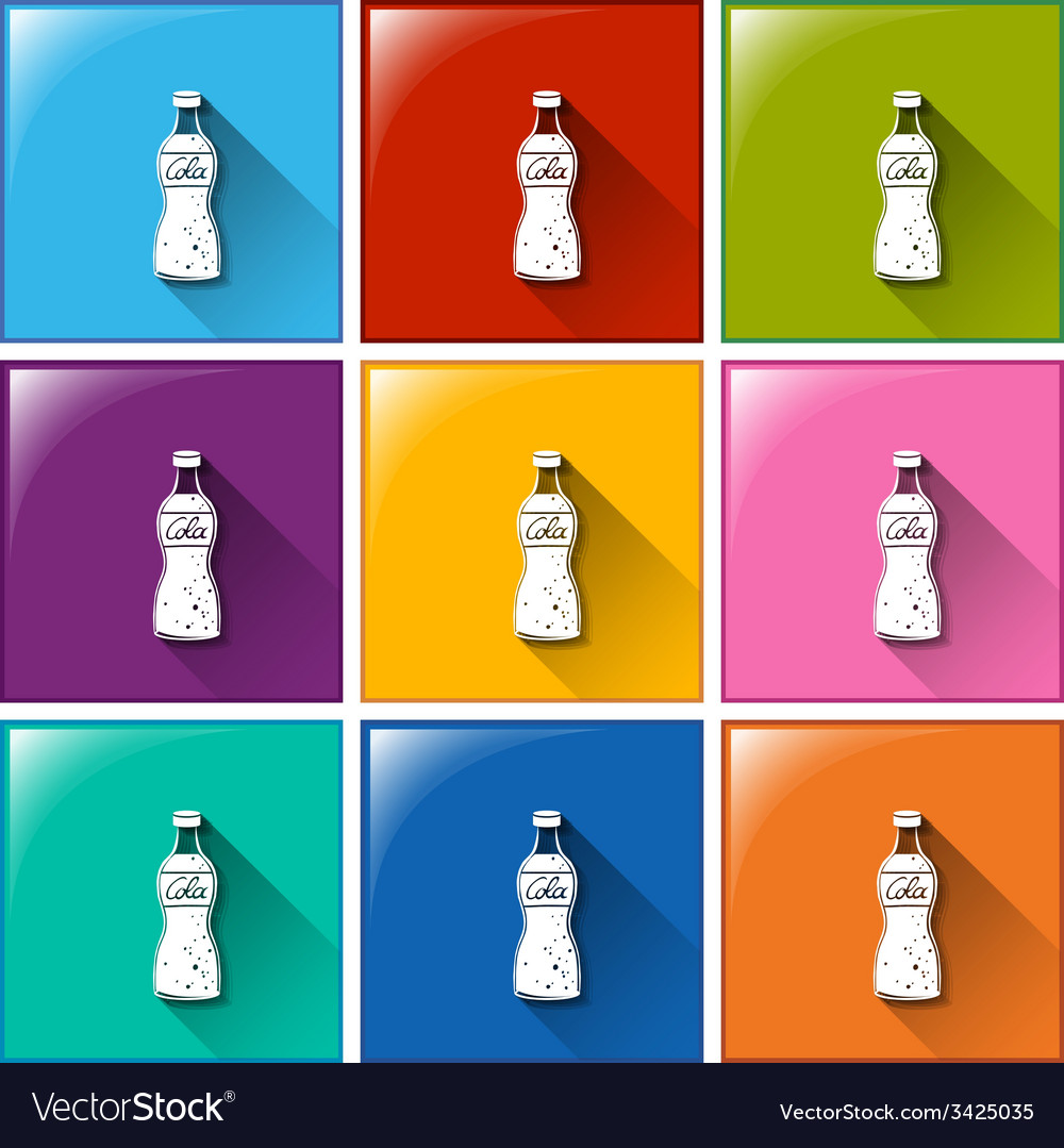 Buttons with bottles of cola vector | Price: 1 Credit (USD $1)