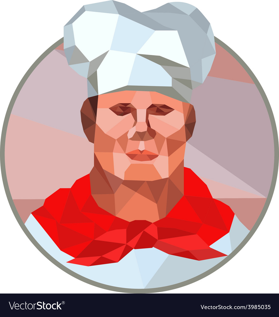 Chef cook baker head low polygon vector | Price: 1 Credit (USD $1)